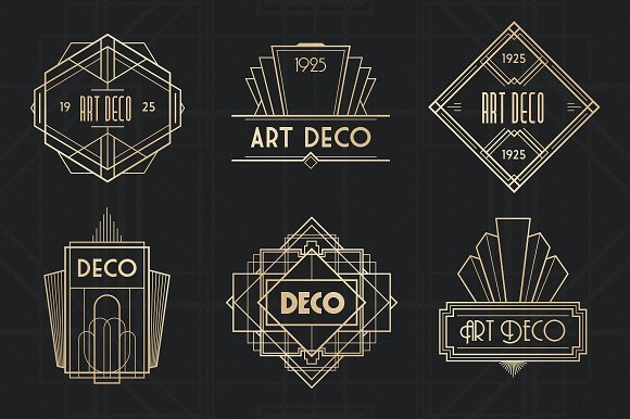 art deco badges logo templates creative market