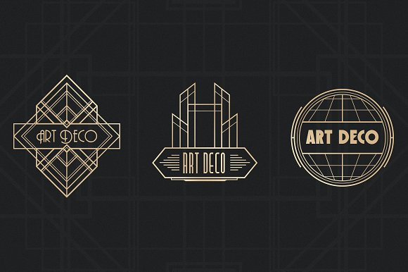 Art Deco Badges Logo Templates Creative Market