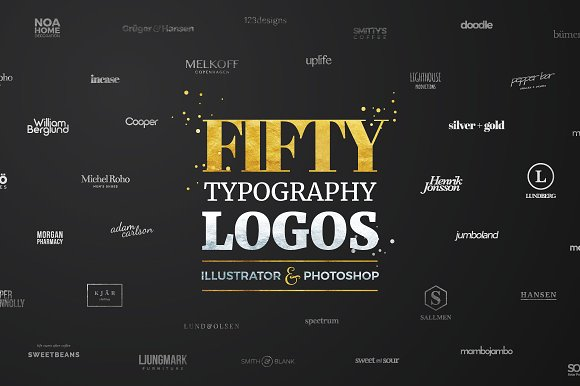 Fifty Typography Logos Bundle Logo Templates Creative Market