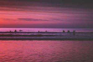 Sunset swim in Atlantic Ocean