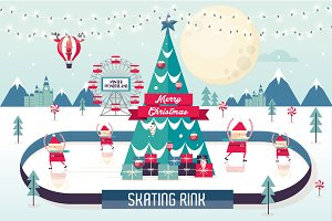 christmas skating rink vector