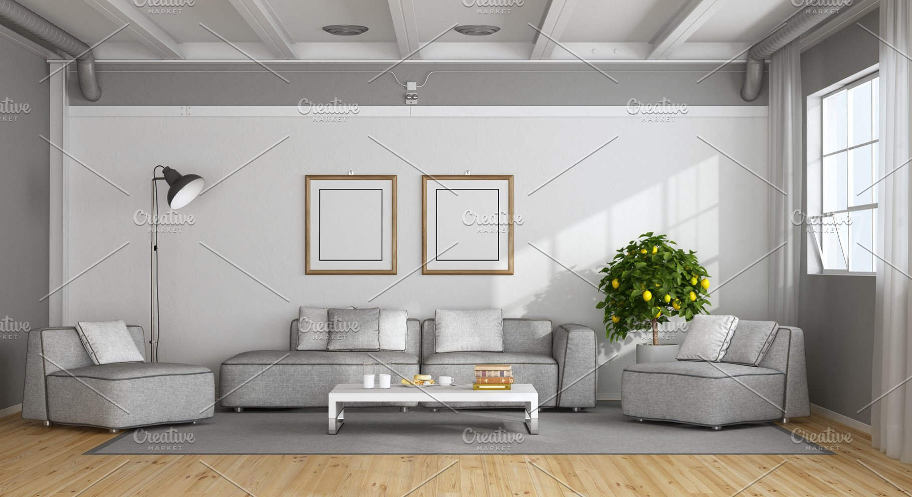 White And Gray Modern Living Room High Quality Architecture