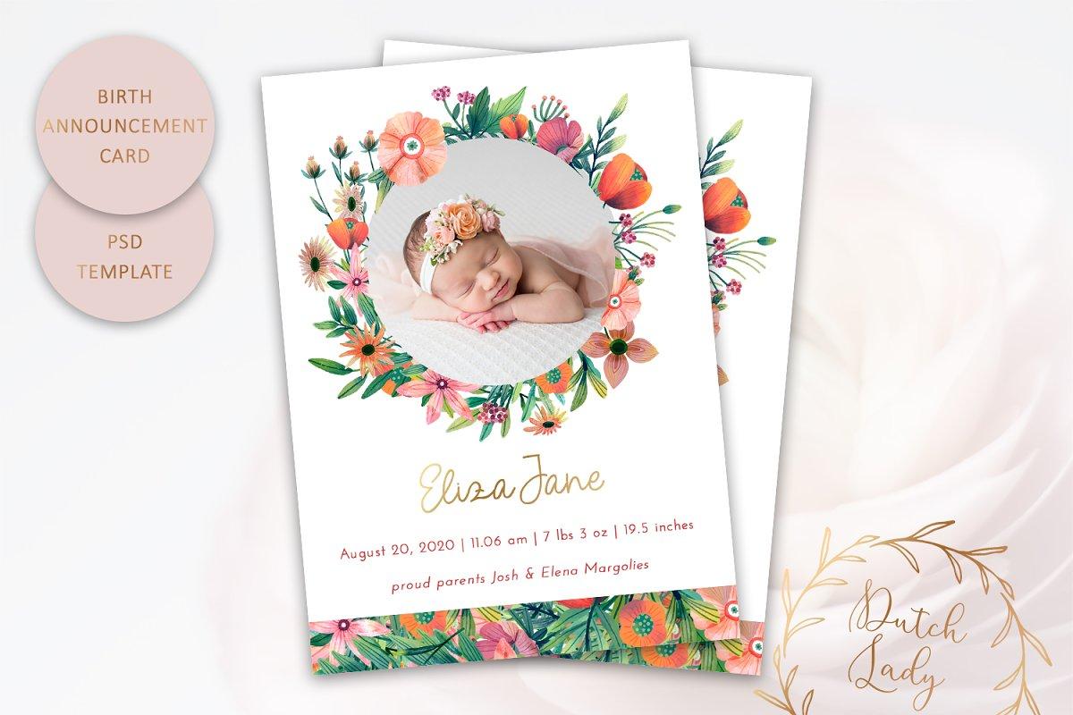 Birth Announcement Card Template #10