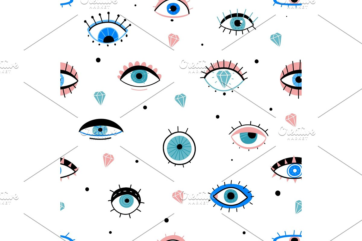 Eye doodles seamless pattern. Hand