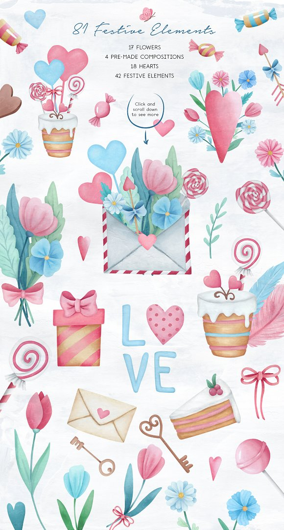 Valentine's Day Sweet Set in Illustrations - product preview 1