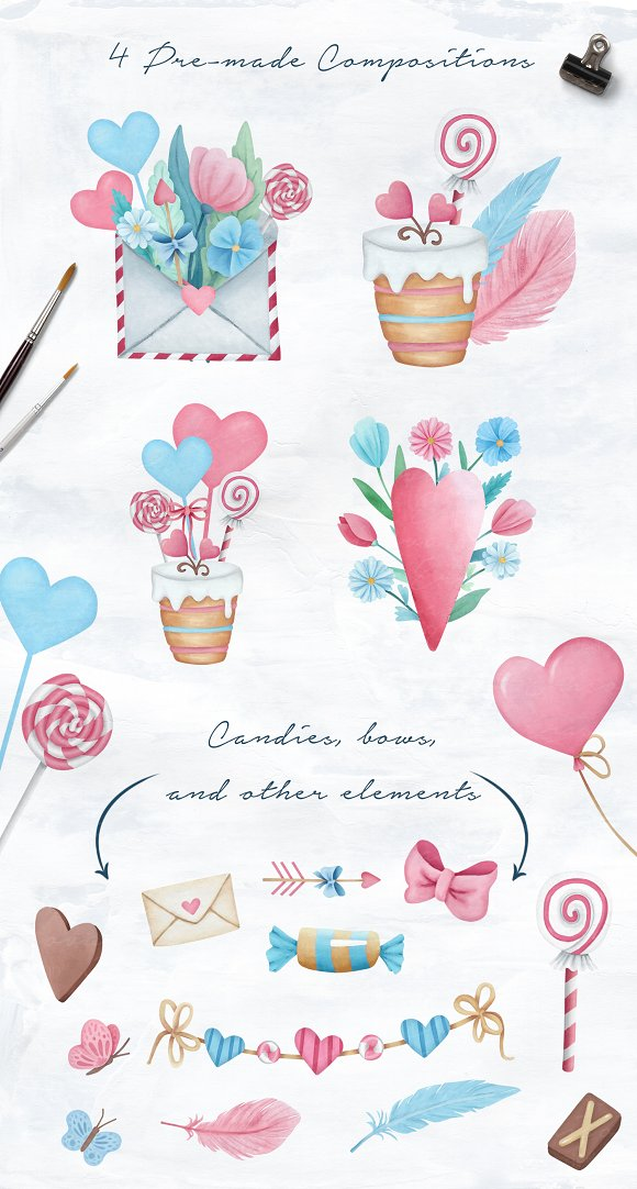 Valentine's Day Sweet Set in Illustrations - product preview 2