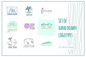 12 hand drawn vector logotypes