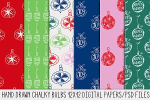 Chalky Hand Drawn Christmas Bulbs