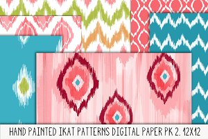 Hand Painted Ikat Patterns Pk.2