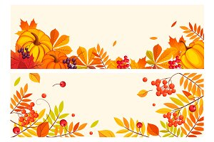 Banners with autumn elements, leaves