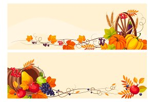 Banners with autumn elements