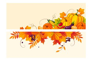 Banners with autumn harvest elements
