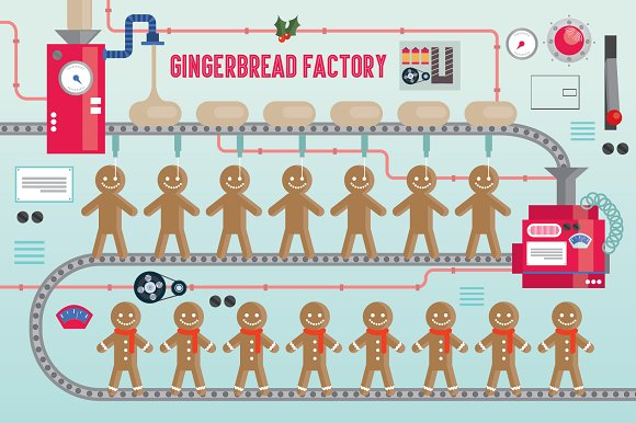 gingerbread factory vector