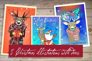 5 illustrations with christmas deer