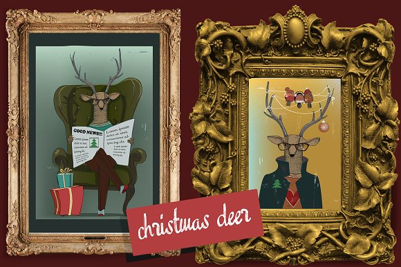5 illustrations with christmas deer in Illustrations - product preview 1