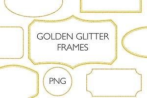 Golden glitter frames - PNG
