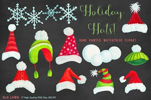 Christmas Holiday Hats Clipart