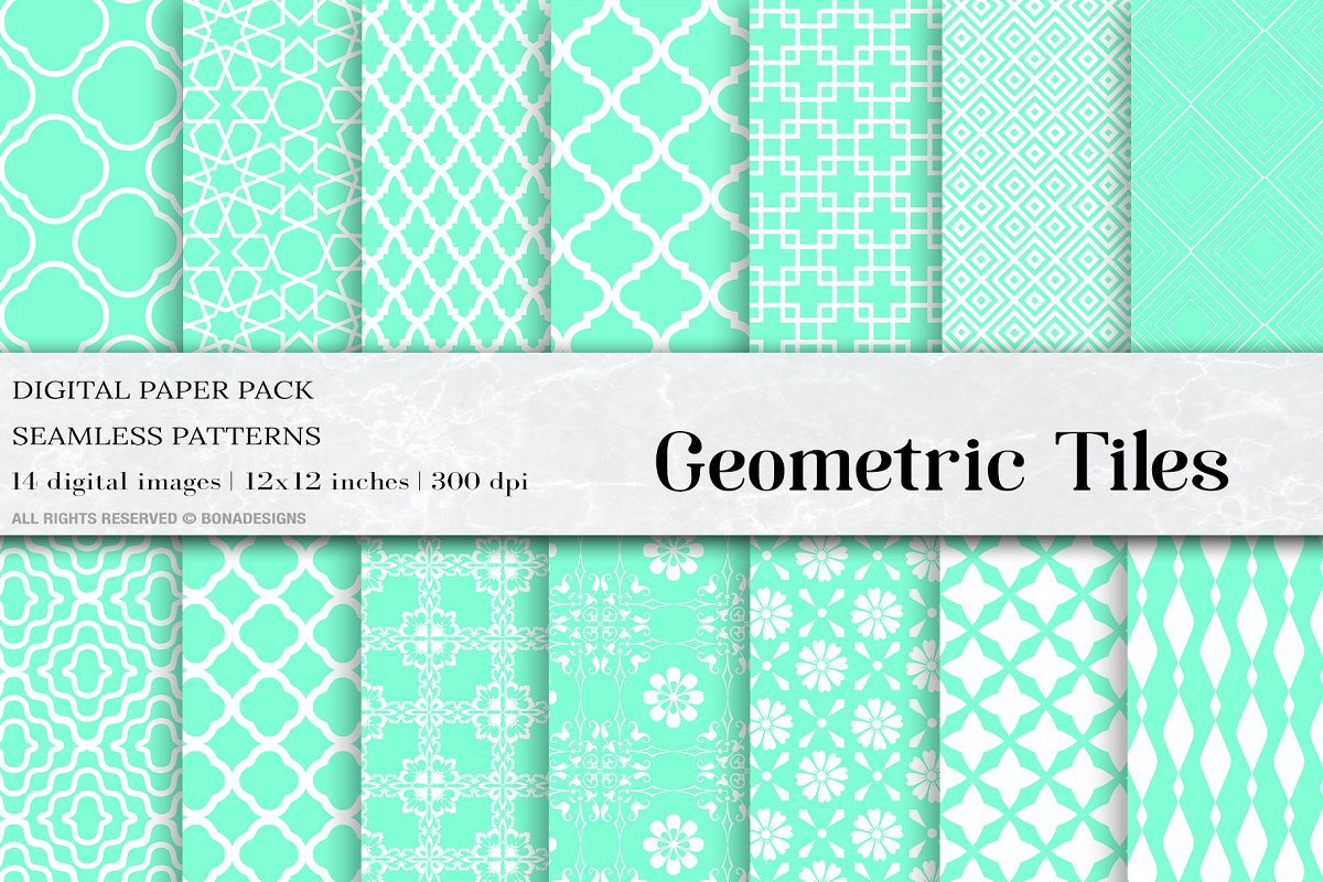 Aquamarine Geometric Tiles