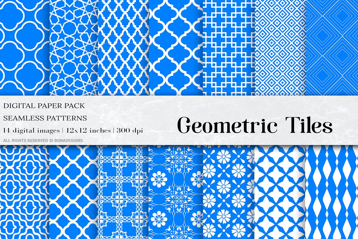 Azure Geometric Tiles Patterns