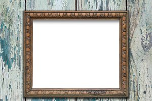 Empty frame on wooden surface