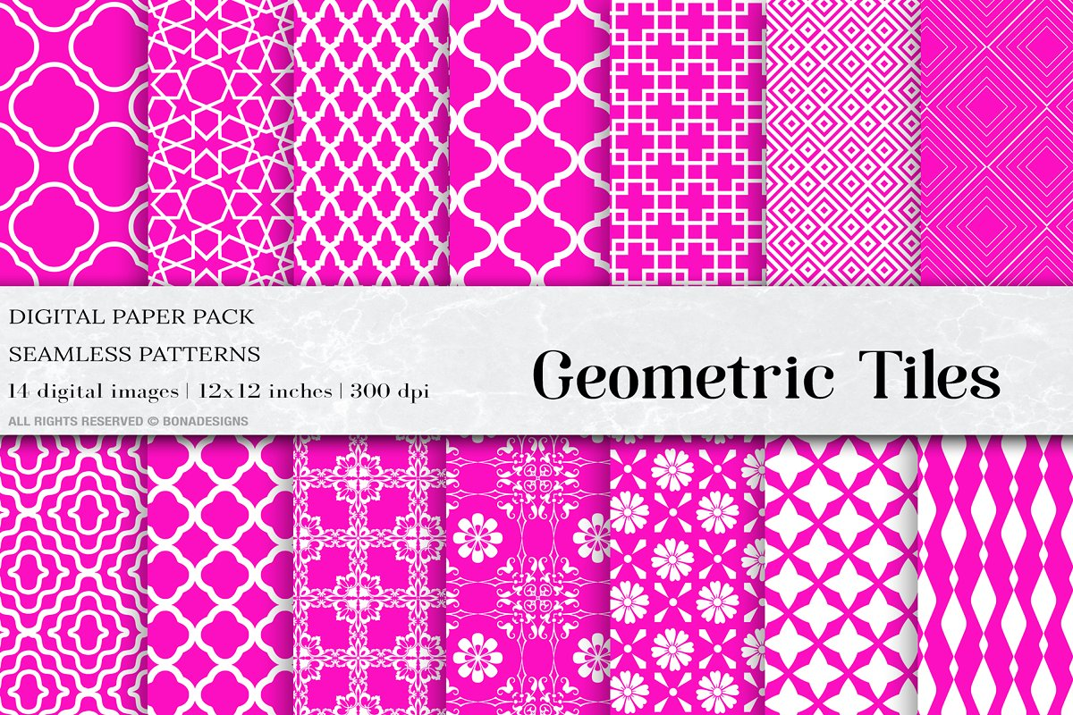 Pink Geometric Tiles Patterns
