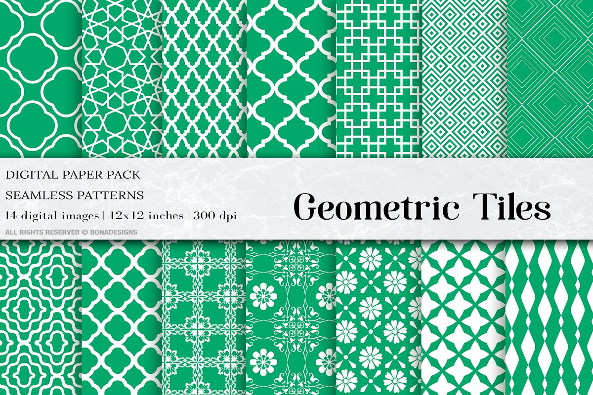Green Geometric Tiles Digital Paper