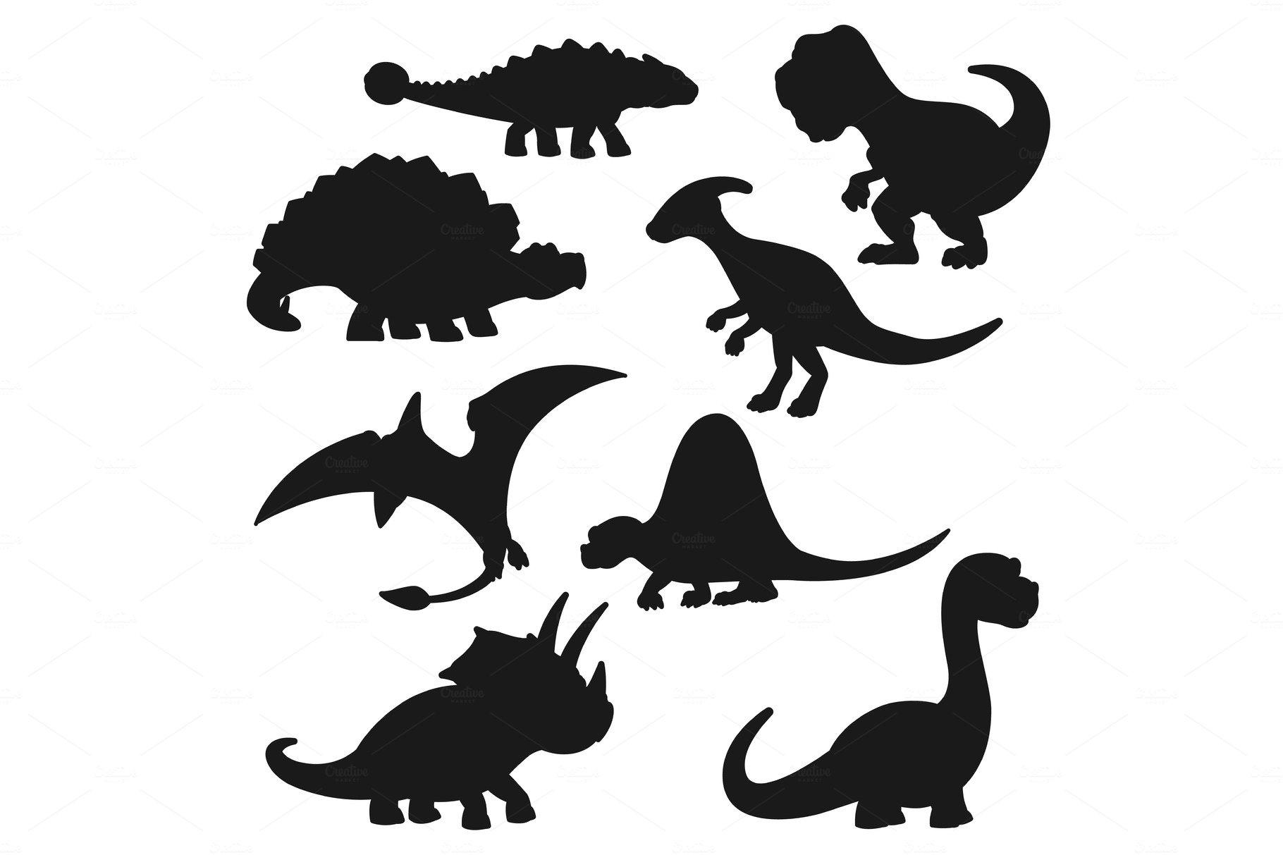 Black Silhouettes Of Dinosaurs Pre Designed Vector Graphics Creative Market Free dinosaur silhouette vector clipart. black silhouettes of dinosaurs