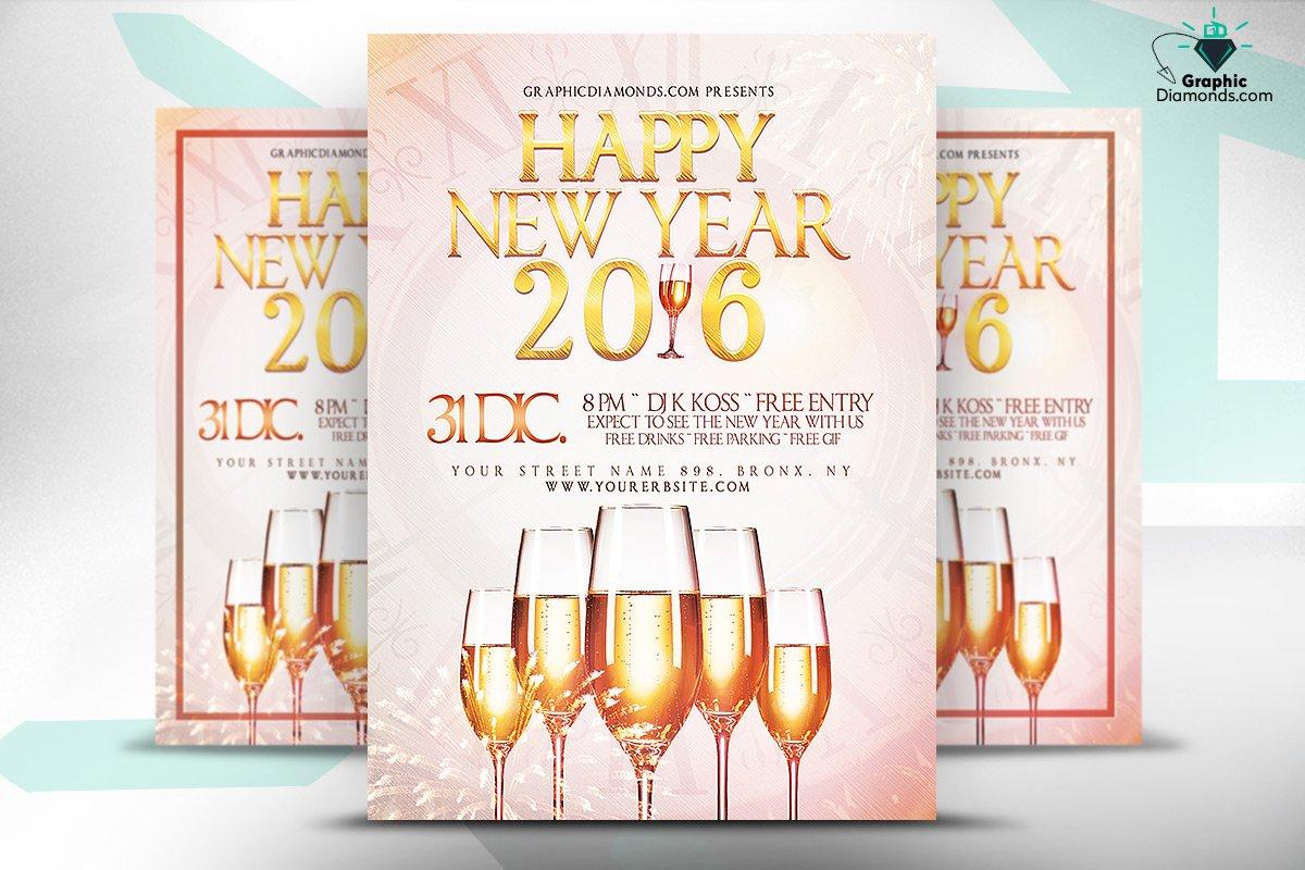 Happy New Year 2016 Flyer PSD ~ Flyer Templates ~ Creative Market