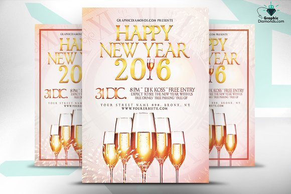 happy new year 2016 flyer psd