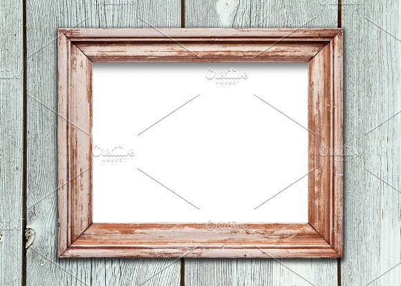 empty frame on wooden surface product mockups - Empty Picture Frame