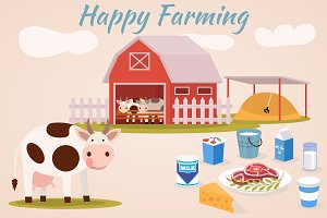 Happy farm and dairy products