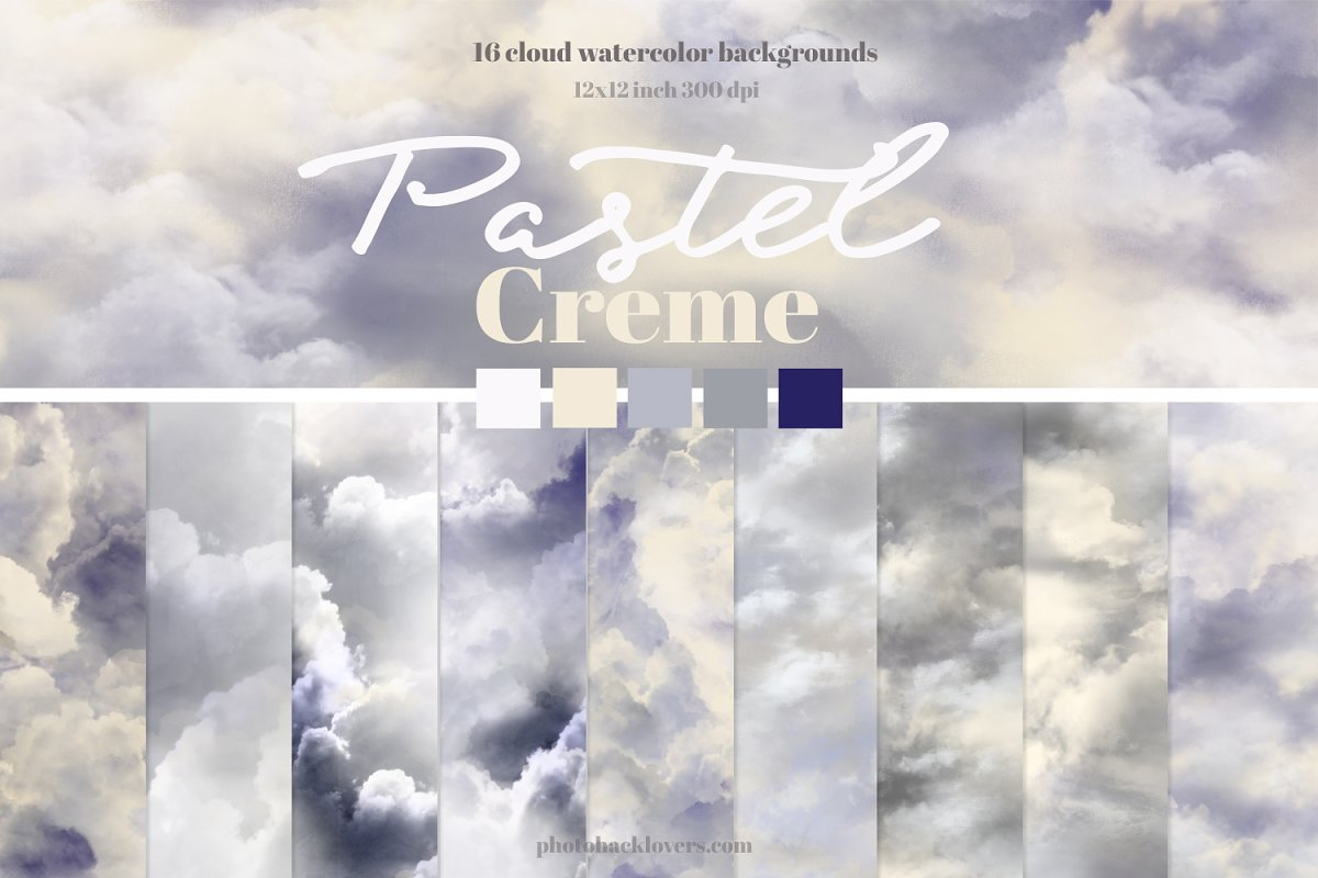 Pastel Creme Watercolor Backgrounds in Textures