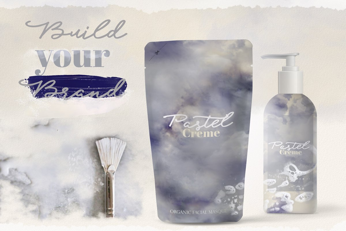 Pastel Creme Watercolor Backgrounds in Textures - product preview 1