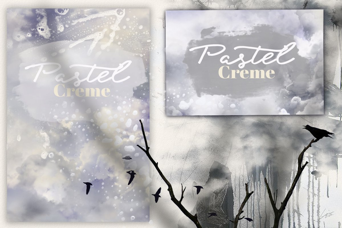 Pastel Creme Watercolor Backgrounds in Textures - product preview 2