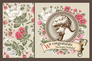 Set. Angel. Flowers. Greeting card.