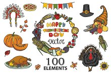Thanksgiving Doodle kit.100 elements