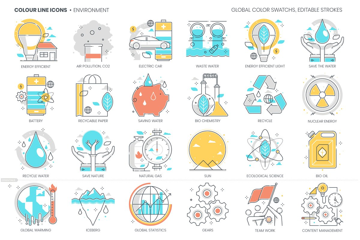 Color line, green energy icons set in Graphics - product preview 8