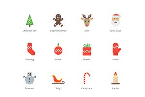 Christmas and New Year color icons