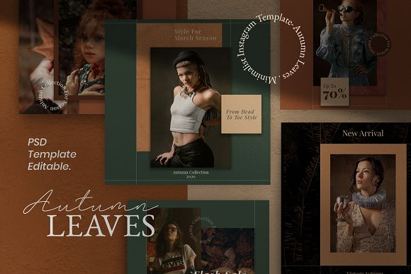 Autumn - Social Media Post + Stories in Instagram Templates - product preview 1