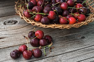 pile of berries cherries