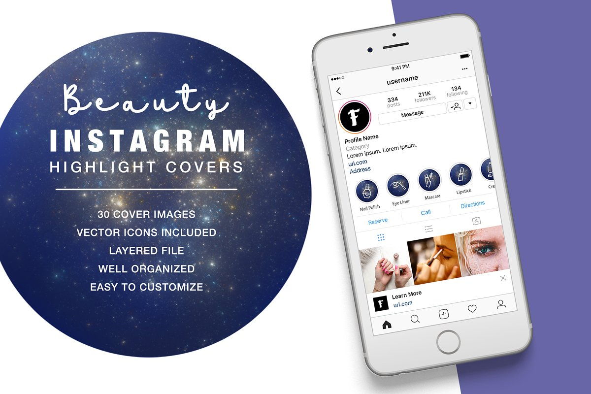 Beauty Instagram Highlight Space in Instagram Templates