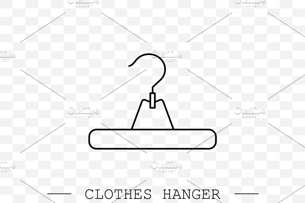 clothes hanger linear, line icon