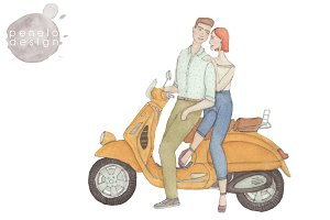 Couple on Retro Scooter Watercolor