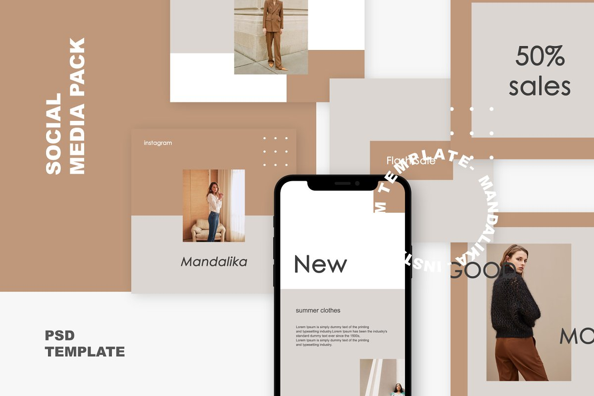 Mandalika - Instagram Pack Template in Instagram Templates - product preview 8