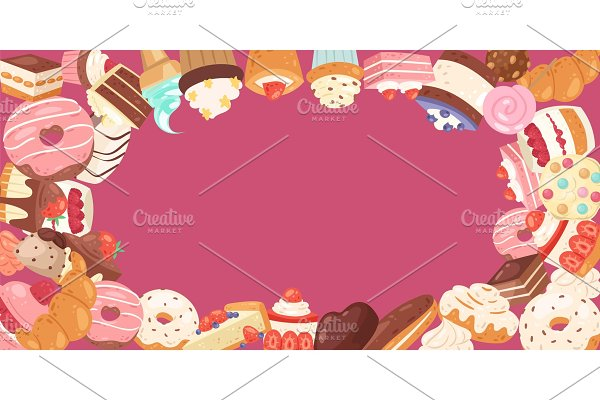 Patisserie background frame with