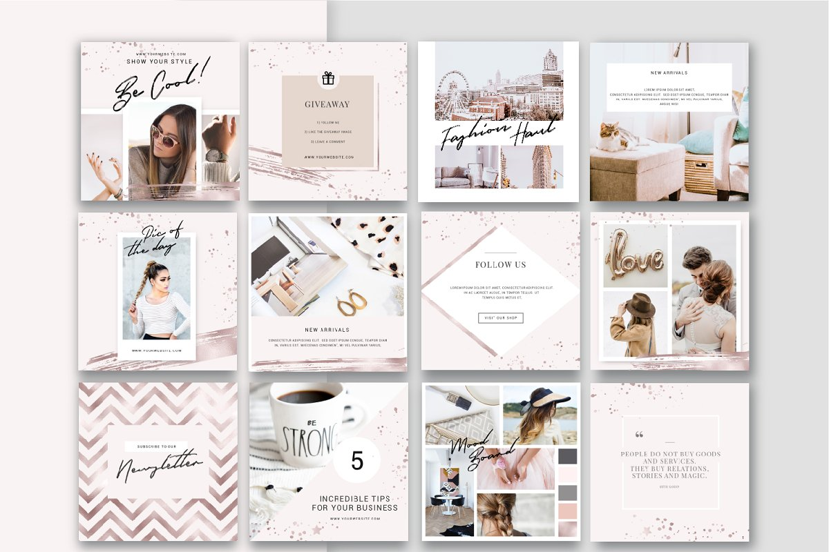 Shine and Glitter - Rose gold Pack in Instagram Templates - product preview 3
