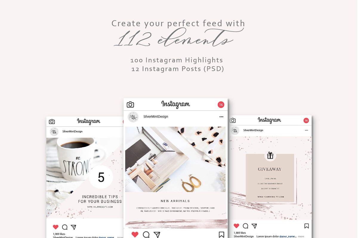 Shine and Glitter - Rose gold Pack in Instagram Templates - product preview 4