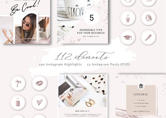 Shine and Glitter - Rose gold Pack in Instagram Templates - product preview 5