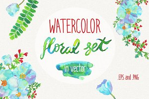 Watercolor hand drawn floral kit