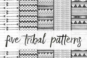 Five Watercolor Tribal Patterns